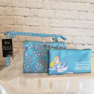 Loungefly Alice in Wonderland 3 PC Travel Tote Bag